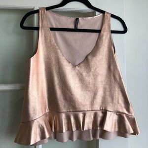 Zara Rose Gold Faux Leather Crop Top